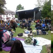 Festplatz mit Bühne; Baum und Löwenzahn