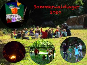 Menschenkreis auf Waldlichtung und Impressionen aus dem Sommerwaldlager